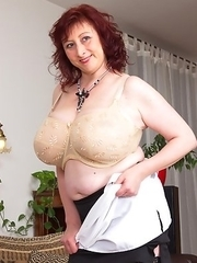 Huge breasted housewife getting very naughty