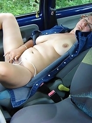 Crazy mature housewives flashing in cars